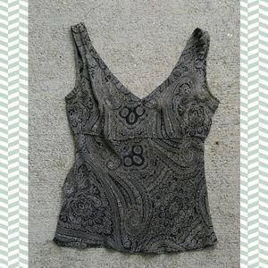 Jcrew silk paisley print v neck sleeveless blouse
